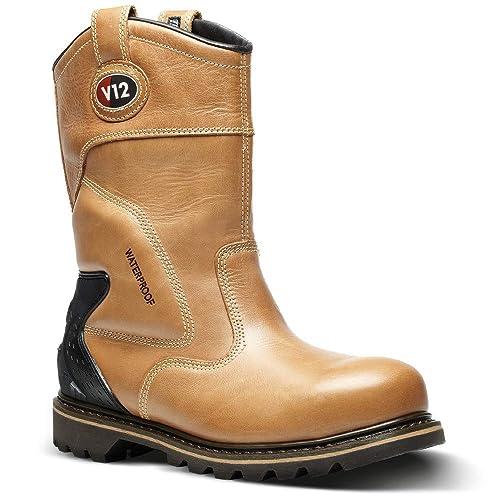 e25d0c74cd292 V12 Tomahawk, Vintage Leather Waterproof Safety Rigger, Size 09, Tan