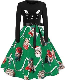 COOKI Women's Christmas Vintage Dresses Elegant Plus Size Kitten Pattern Long Sleeve A-line Cocktail Party Swing Dress