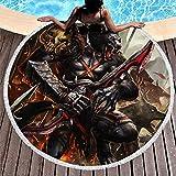 Tobgreatey Toalla de playa redonda con borlas Fantasy Wolf Ejército Fantasy Wolf Toalla absorbente para amigos Blanco 150 cm