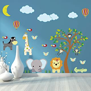 Supzone Jungle Animal Wall Stickers Monkey Tree Wall Decals Elephant Giraffe Zebra Vinyl Forest Animal Wall Stickers DIY R...