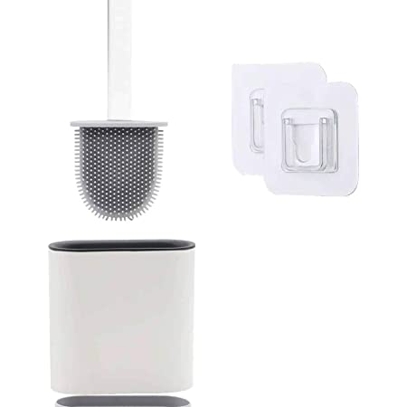Brosse de Toilettes à Séchage Rapide, Brosse WC Suspendue en Silicone Antibactérienne avec Support Hygiénique