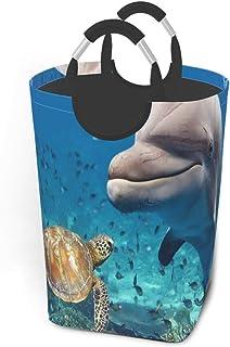 Ensemble de toilette Paniers de rangement sous-marins de tortues de dauphins Panier à linge sale et flexible Sac organisat...