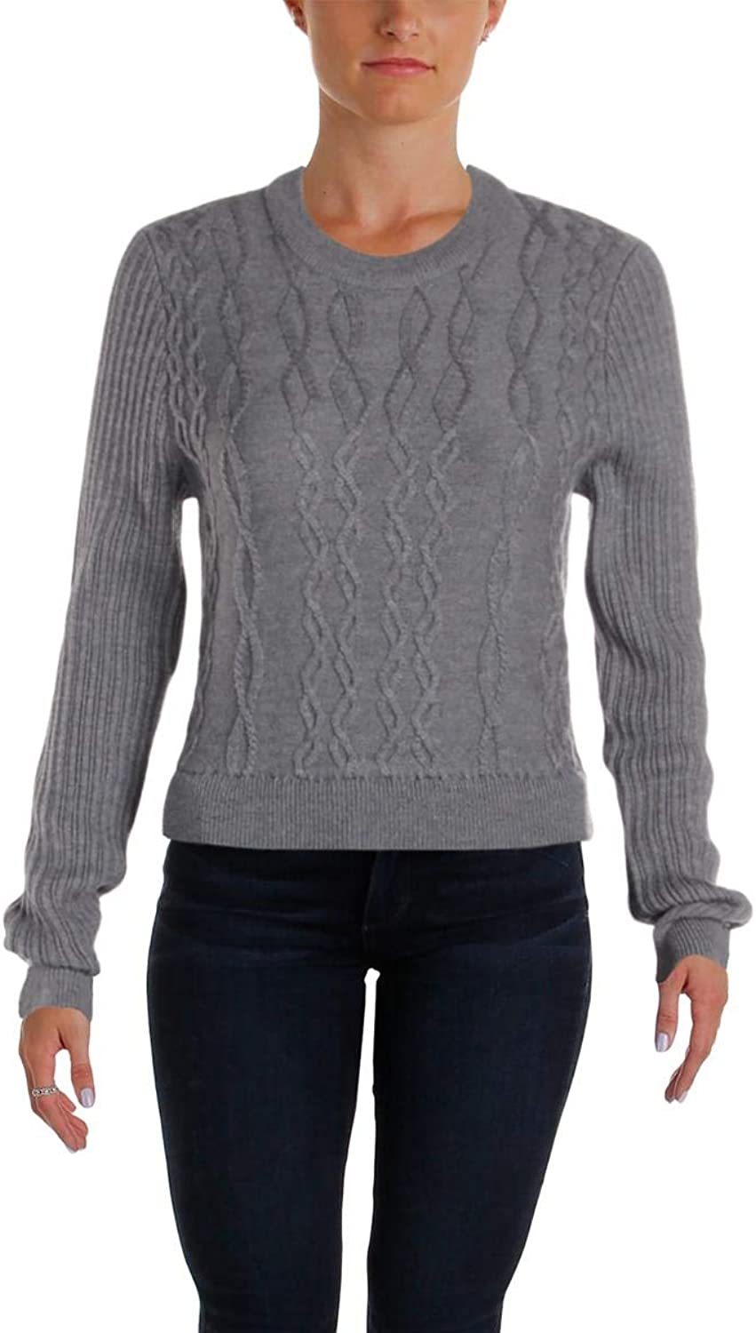 Carven Womens Floral Print Cable Knit Sweaterdress