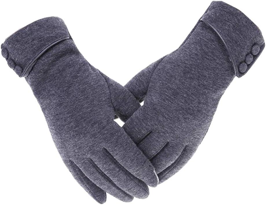 Bonarty Lady Womens Winter Windproof Warm Thick Soft Touch Screen Fleece Gloves - Gray, 23.5cm