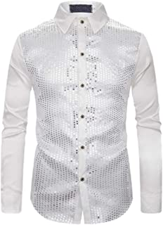 Mens Long Sleeve Glitter Solid Color Sequin Button Down Dress Shirts