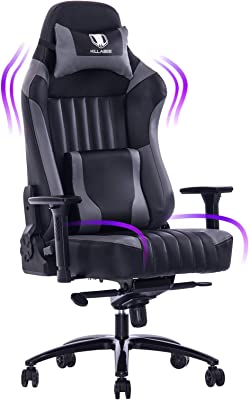 KILLABEE Big and Tall 400lb Memory Foam Gaming Chair-Adjustable Tilt, Angle and 3D Arms Ergonomic High-Back Leather Racing Executive Computer Desk Office Metal Base (Gray)