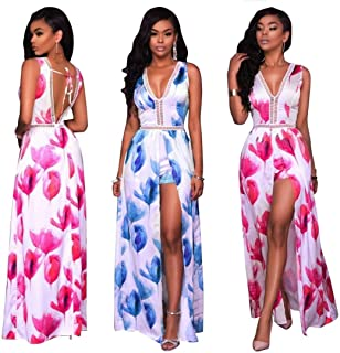 KaleaBoutique Deep V Neck Women Shorts Romper with Maxi Skirt Backless Front Slit Sleeveless Jumpsuit