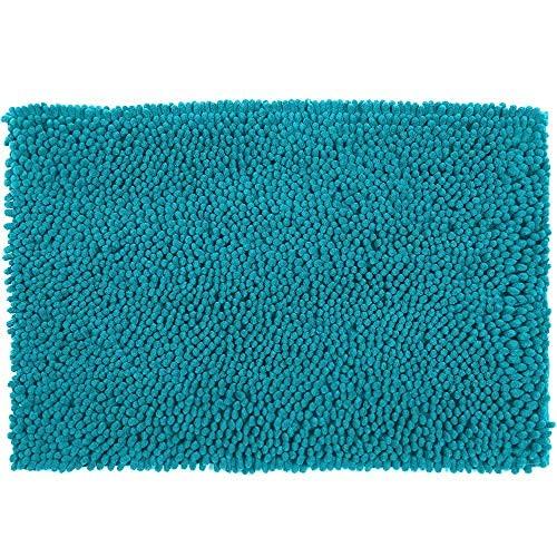 YIQI Alfombra de baño de Felpa de Microfibra de Chenilla, Suave y acogedora, Agua súper Absorbente, Antideslizante, Gruesa para Dormitorio de baño (60x40 cm, Lago Azul)