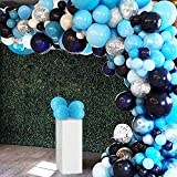 125Pcs Navy Blue Balloon Garland Arch Kit, Navy Blue Silver Confetti Balloons for Boys Baby Shower Birthday Party Backdrop Graduation Party Decorations