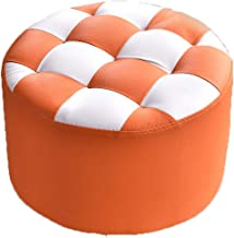 FJFDZ Square Grid Footstool,Imitation Leather Sofa Stool Round Change Shoe Bench,Living Room Home Decoration Furniture (Co...