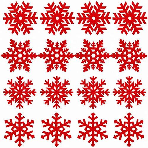 16 Sottobicchiere Natale, sottobicchieri con design a fiocco di neve Sottobicchiere riutilizzabili antiscivolo resistenti al calore per la decorazione della tavola da pranzo della festa di Natale