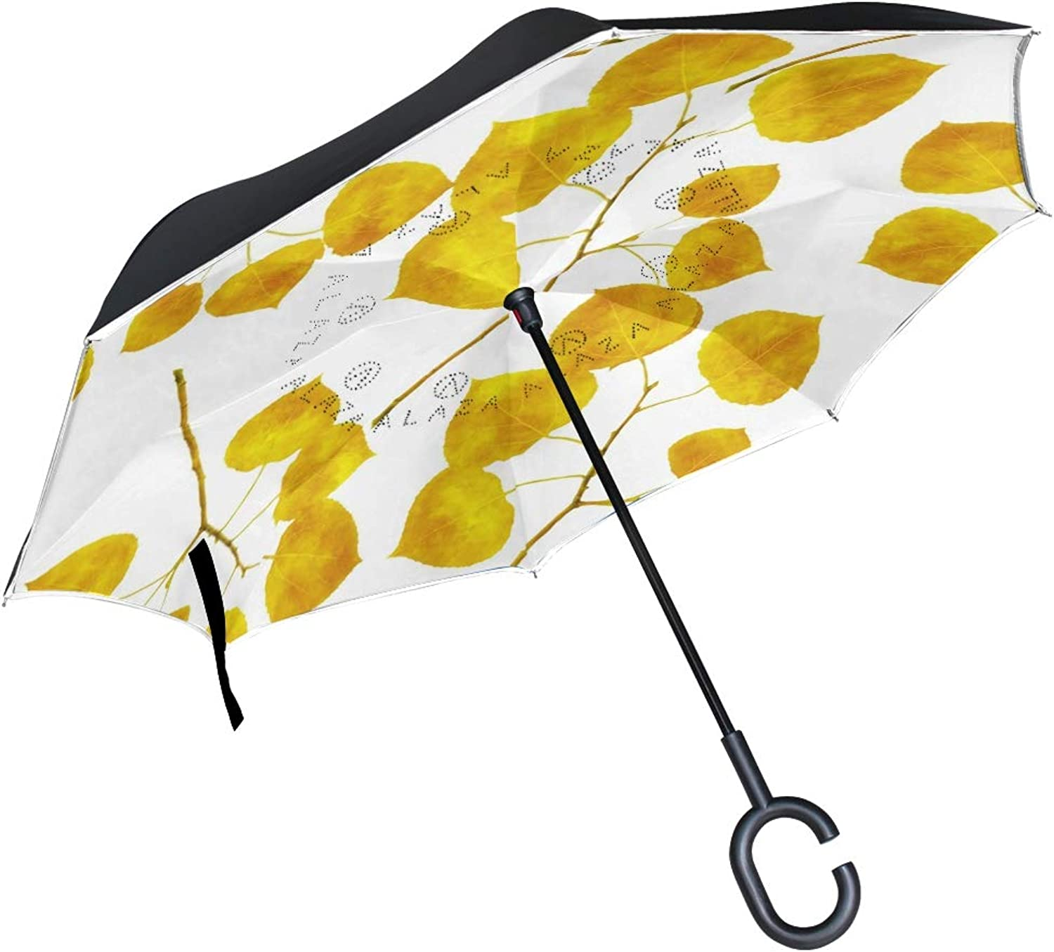 Double Layer Aspen Leaves Ingreened Umbrellas Reverse Folding Umbrella for Car, DKRetro CShaped Handle Umbrella with Light Reflection Strip