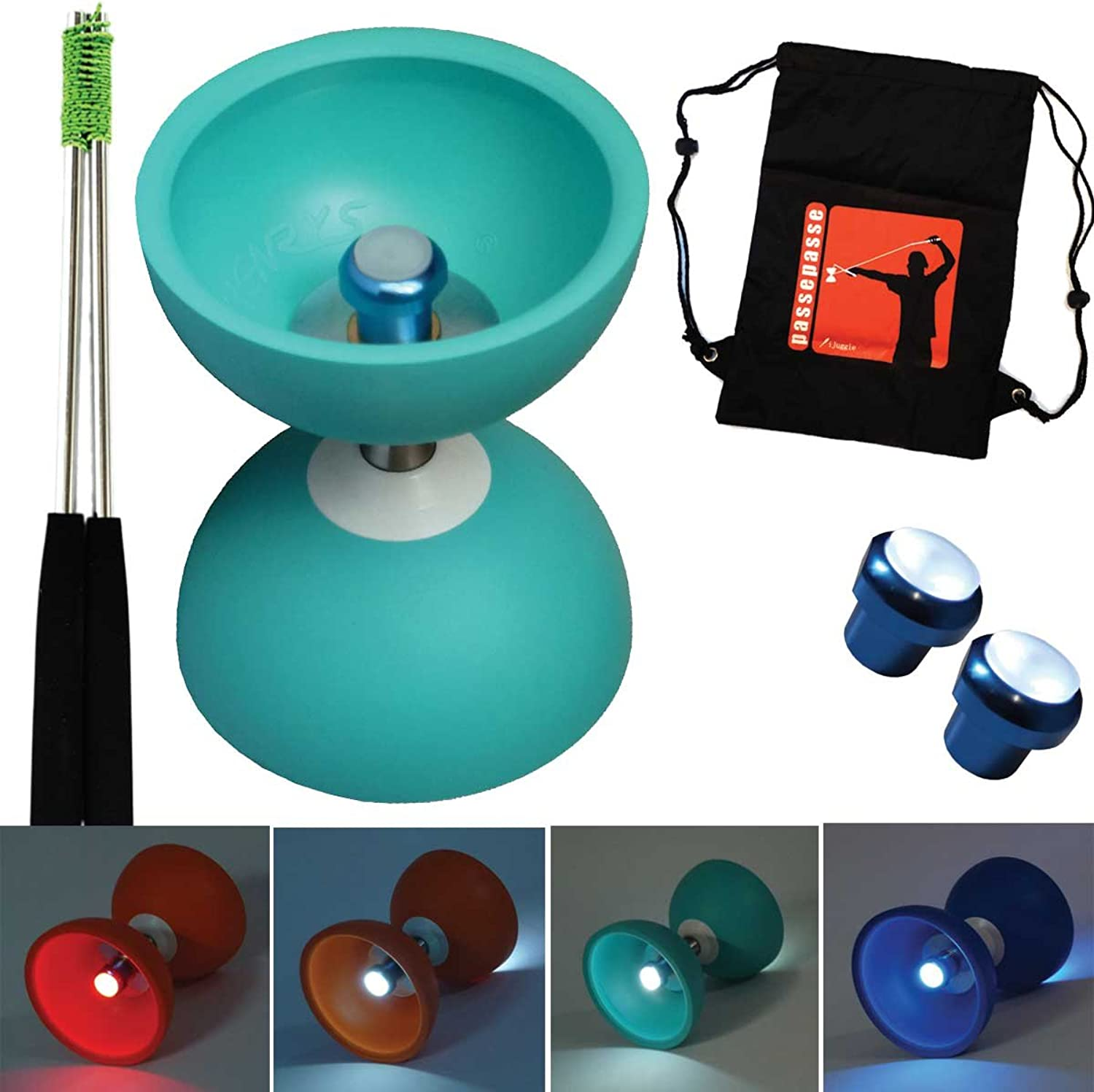Henrys Turqouise Diabolo Jazz FREE Bearing Axle with Night & Day M6 nuts limited edition with Aluminium control sticks and bag