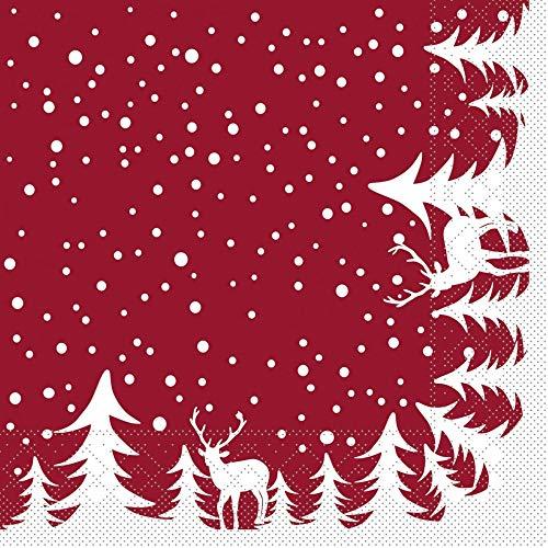 Sovie HORECA Serviette Marvin in Bordeaux | aus Tissue 33 x 33 cm | Weihnachten Tannenbaum Xmas | 100 Stück