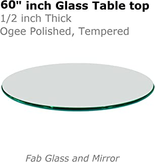 Fab Glass and Mirror 60 Inch Round 1/2 Inch Thick Ogee Tempered Glass Table Top, Clear