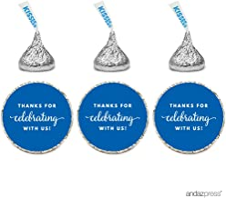 Andaz Press Chocolate Drop Labels Trio, Fits Hershey's Kisses Party Favors, Thanks for Celebrating with Us, Royal Blue, 216-Pack