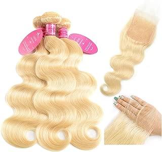 613 Hair Bundles withClosure Body Wave 613 Honey Blonde Bundles with Lace Closure Brazilian Human Hair Weave Bundles with Closure Virgin Hair Weft 150% Density Free Part(20 22 24+18, 613)