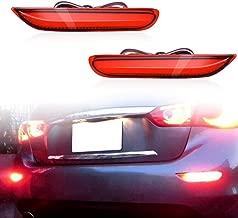 KE-KE 3D Optic LED Rear Fog Lamps Bumper Reflector Strobe Brake Lighting Brake Tail Lights Turn Signal Lamps Kit For Infiniti Q50 QX56 QX60 QX80 Nissan Pathfinder Rogue (Red)