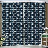 BLZQA Cortinas Opacas Cortina térmica Espina de Pescado Azul Ojales Cortina Infantiles Habitaciones Poliéster Tejido Salón Dormitorio Decoración de la Ventana 110 cm x 215 cm x 2