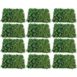 Kaibrite 9/12pcs Artificial Greenery Panel Fence Boxwood Hedge Fence Screen Hedge Panels Garden Privacy Fake Foliage Mat Wall 60x40cm (12PCS #3)
