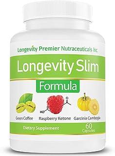 Longevity Slim Formula - Green Coffee Bean Extract + Raspberry Ketone + Garcinia cambogia + Green Tea Extract - Complete N...