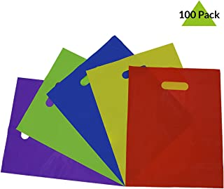 Prime Line Packaging 100 Pcs. 12x15 Thick 2 Mil Multi Color Plastic Merchandise Bags with Die Cut Handles, Plastic Shopping Bags, Party Favor Bags, Gift Bags Bulk