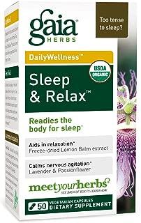 Gaia Herbs, Sleep & Relax, Sleep Support, Non Habit Forming Herbal Sleep Aid, California Poppy, Lavender, Lemon Balm, Passionflower, Valerian, Organic, Melatonin Free, Vegan Liquid Capsules, 50 Count