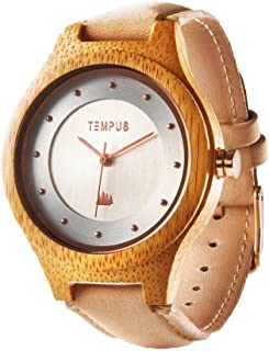 TEMPUS - Callista - Women Wood Watch Bamboo Case Wooden Lady Pink Leather Strap Wristwatch - TWW05