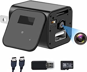1080P Camera Charger with 32GB Card, Full HD Camera, Smart Cam with Motion Activation, No-WiFi Surveillance Cameras for Indoor Outdoor Security Camera
