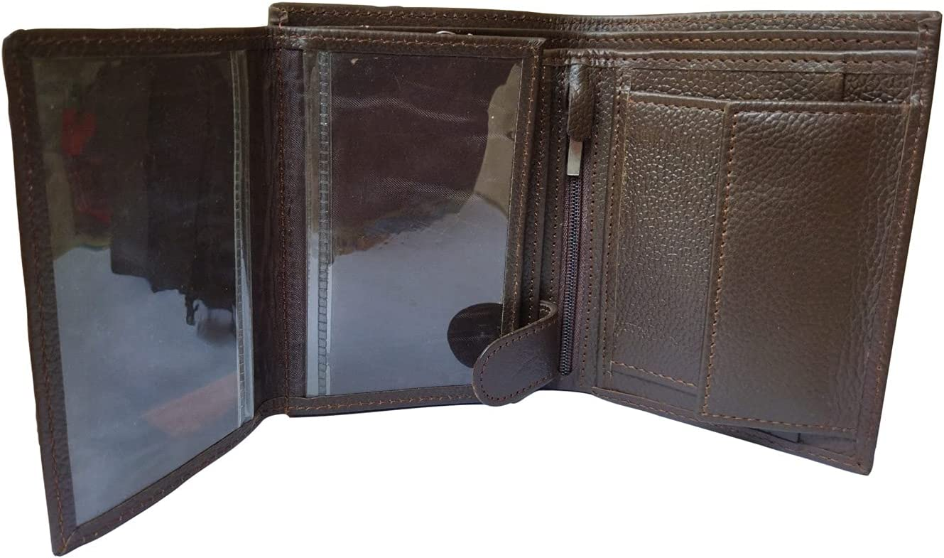 Mens Brown Genuine Leather Trifold Wallet Id Window Credit Card Case Holder
