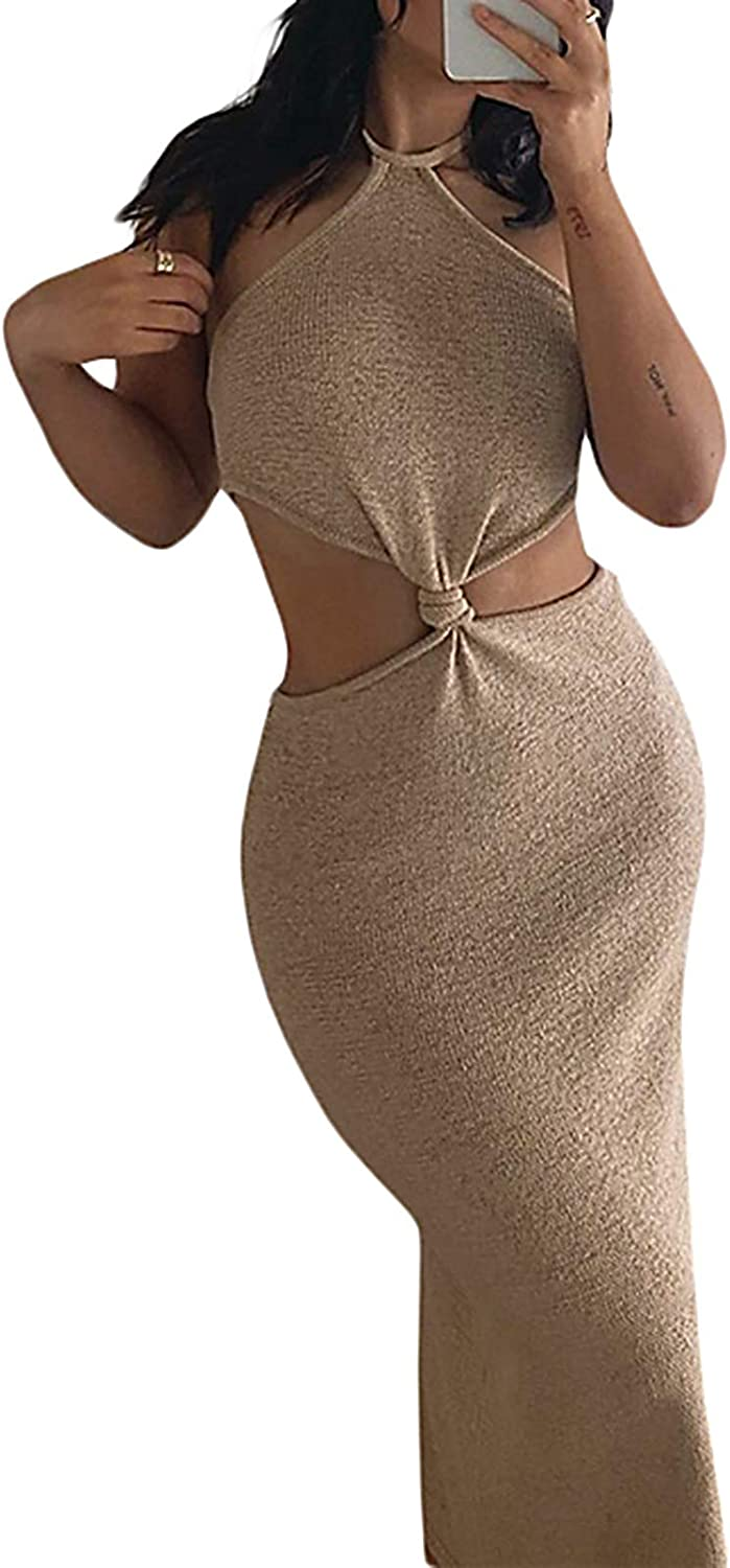 LXXIASHI Women Halter Neck Knitted Bodycon Dress Summer Backless Hollow Out Long Dresses Y2K Streetwear