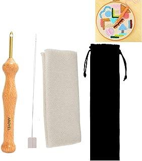AROYEL魔法の木製のハンドルの刺繍ペンの針のセット、調整可能な針の針の糸の針の工芸用具のハンドバッグのテーブルクロスDIYの工芸刺繍の糸の入れ子DIYの縫製