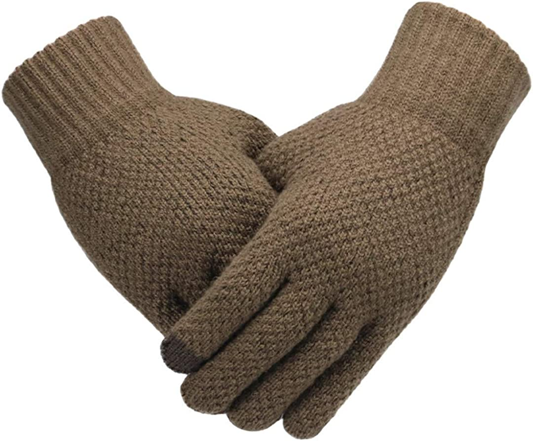 Men Knitted Gloves Touch Screen Mitten Thicken Warm Wool Business Gloves Coffee Nologo One Size