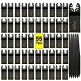 55 PC Wood Plastic Soft-Metal Oscillating Multi Tool Saw Blades and Reciprocating Saw Blade Compatible with Dewalt, Milwaukee, Rockwell, Craftsman, and More