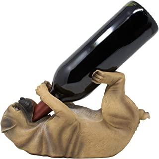 Drinking Pug Wine Bottle Holder Statue in Decorative Home Bar Décor Pet Sculptures & Puppy Dog Figurines, Tabletop Wine Racks and Display Stands and Funny Pet Gifts for Dog Lovers