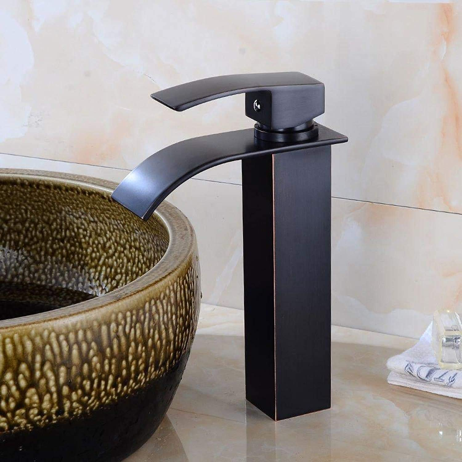 Honcx Faucet Taps Basin Waterfall Faucet Bathroom Hot and Cold Above Counter Basin Faucet Black Ancient Retro Single Hole Single Handle