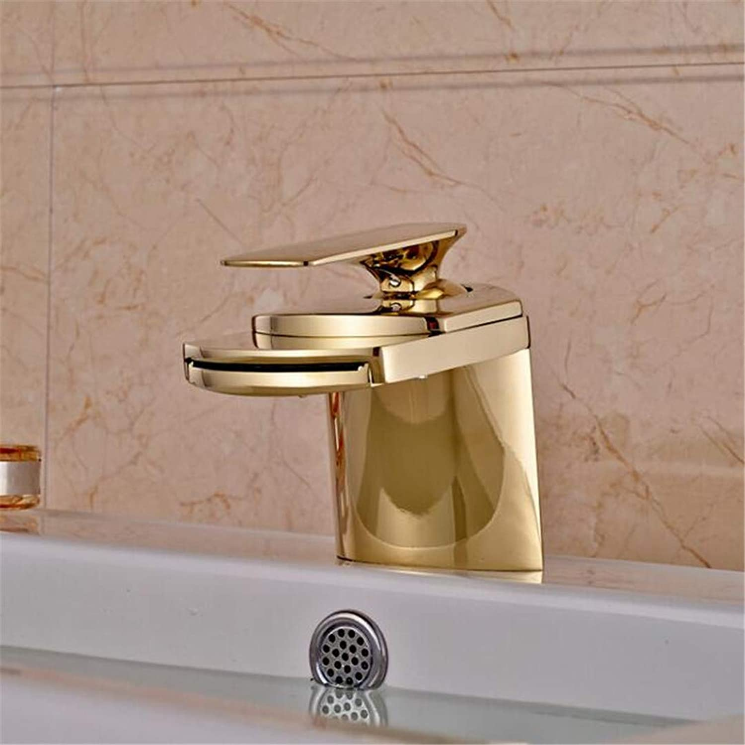 Basin Faucet Bathroom Sink Tap Waterfall Spout Basin Vessel Sink Faucet Deck Mount Brass Hot Cold Mixer Tap for Bathroom