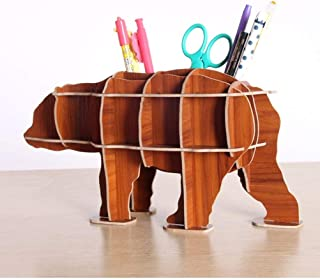XDH-RTS 3D DIY Wooden Bear Statue Polar Bear Desktop Book Storage Sculpture Table Home Decorate Crafts Gift