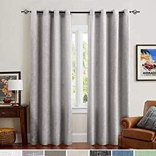 Linen Cotton Curtains for Bedroom 84 inch Grey Curtains for Living Room Burlap Window Curtain Set of 2 Panels