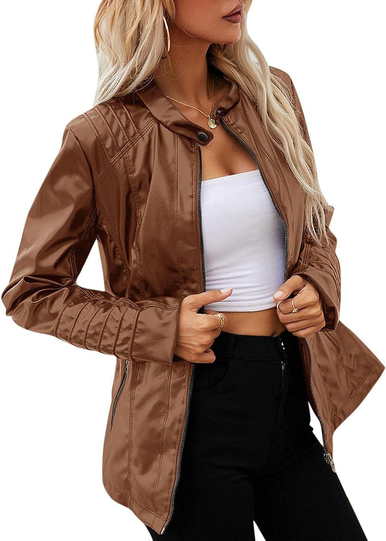 Women Punk Biker Jacket Hooded Coat Zipper Leather Outwear Basic Motorcycle Windproof and waterproof Leather Jacket Coat
