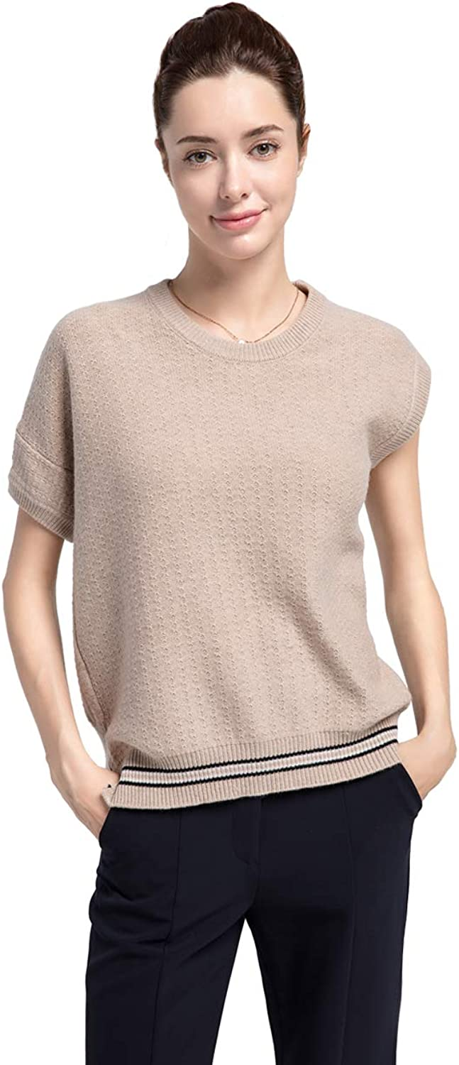 2018 New Women's 100% Cashmere Knitted Crewneck Short Sleeve
