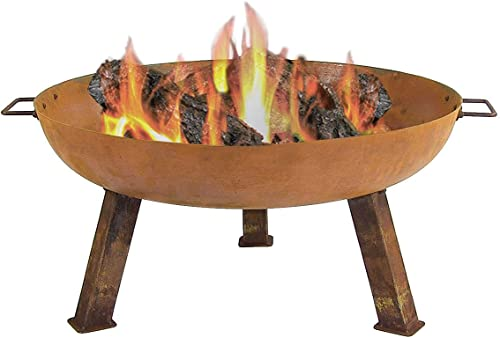 discount Sunnydaze Rustic Cast Iron Fire Bowl with Handles - lowest Outdoor Wood Burning Fire Pit - Large 30 Inch Size for sale Backyard, Patio and Porch outlet online sale