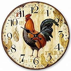 Telisha Wooden Wall Clock Rooster Chicken Clock Retro Vintage Large Clock Home Decorative Country Non -Ticking Silent Quiet 14 Inch Gift