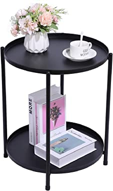 H JINHUI Round Metal Side End Table, Accent Side Table, Living Room and Bedroom Snack Table Night Stand for, Anti-Rust and Wa