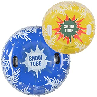 HIWENA Snow Tubes, Inflatable Snow Tubes for Family with 2 Higher Handles, Heavy Duty..