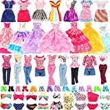 BM 22 Pack Doll Clothes and Accessories 4 PCS Fashion Dresses 2 Tops and Pants Outfits 2 PCS Party Dresses 4 Sets Swimsuits Bikini and 10 pcs Shoes for 11.5 inch Doll