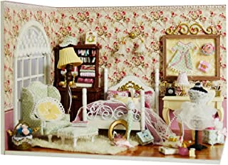 ROBOX Miniature Dollhouse Kits Little Small Bedroom DIY 3D Wooden Mini House Dolls Kit Craft Model Toy with Furniture for ...