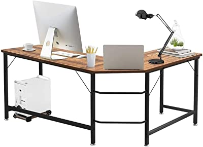Tangkula L-Shaped Corner Computer Desk, 66 Inch Home Office Desk PC Laptop Study Table with CPU Stand & Spacious Surface, Computer Workstation with Adjustable Foot Pads (Coffee)