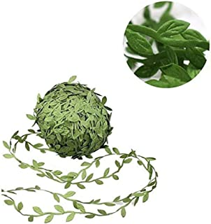 Mydio 22 Yards Olive Green Leaves Leaf Trim Ribbon - Artificial Vines for DIY Craft Party Wedding Home Decoration (Olive Green)