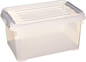 Curver Storage Box Handy Plus with lid 6L in Transparent/Silver, 29.5 x 19.5 x 14 cm